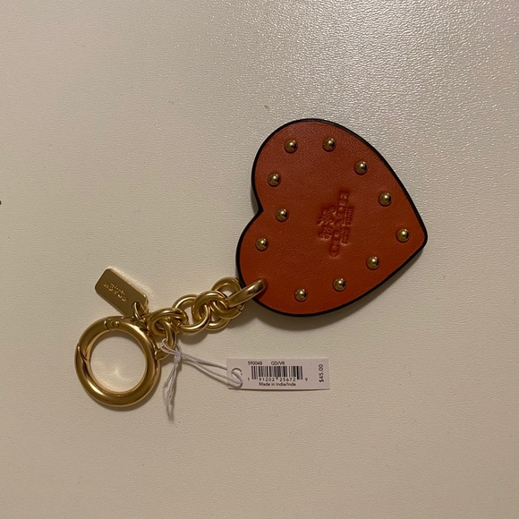 Coach Orange Studded Heart Key Chain